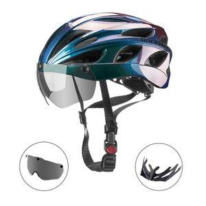 ROCKBROS Fahrradhelm Mit Visler Schutzbrille Radhelm MTB Helm Damen Herren Farbverlauf blau 57-62cm