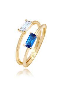 Elli PREMIUM Ring Set Zirkonia Synthetischer Saphir 925 vergoldet 52 mm Gold
