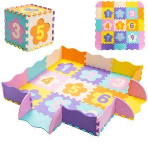 COSTWAY Puzzlematte 50 Stück mit Zaun, Bodenspielmatte mit abnehmbaren Blumenform- und Zahlenmustern, Kinderteppich für Baby und Kinder, Spielteppich Eva, Krabbelmatte schadstofffrei