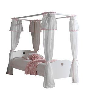 Textilset Padma für Himmelbett 4-teilig in rosa-weiß aus 100 % Polyester und bei 40° waschbar Stoff Vorhang
