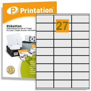 Printation Universal Etiketten 70 x 32 mm weiß 2700 Klebeetiketten 100 DIN A4 Bogen á 3x9 70x32 Labels permanent selbstklebend