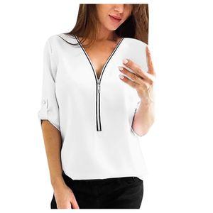 Damen Chiffon Casual V-Ausschnitt Langarm Reißverschluss Front Loose Shirt Top Bluse Größe:S,Farbe:Weiß
