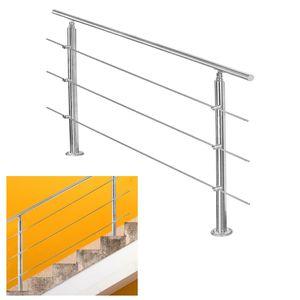 EINFEBEN Edelstahl Handlauf Gel?nder fš¹r Balkon Brš¹stung Treppen mit/ohne Querstreben (120cm, 3 Querstreben)