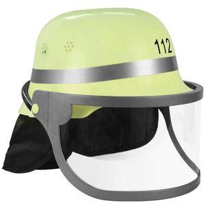 Feuerwehrhelm für Kindern | Aufdruck 112, Klappvisier & Nackenschutz | authentischer Look mit deutschem Design | gelb & schwarz |