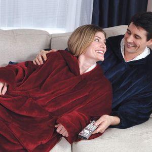 Kuscheldecke mit Ärmeln Ärmeldecke TV Decke Kapuzenpullover aus Watte mit Ärmeln und Tasche(Grau)