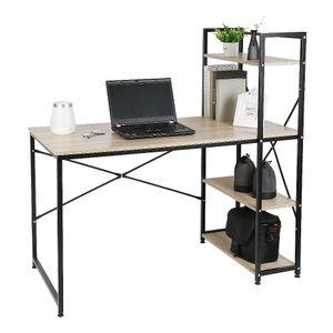 JEOBEST Schreibtisch mit Regal  Computertisch Bürotisch  Arbeitstisch 120*64*121cm