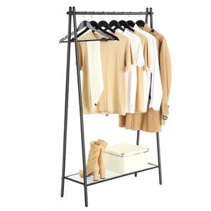 SONGMICS Kleiderständer aus Eisen | 92,5 x 33,5 x 153 cm Garderobenständer mit Ablage im unteren Bereich & Kleiderstange schlicht Mattschwarz HSR23BK