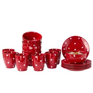 Emily 18tlg Frühstücksset 6 Personen rot weiße Punkte Teller Kaffeebecher Schalen Geschirrset