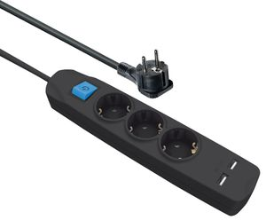 3-fach Schutzkontakt-Steckdosen-Leiste mit 2 USB-Ladebuchsen und flachem Schutzkontaktstecker,5,0 m