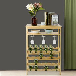 Weinregal aus Bambus Flaschenregal Weinschrank für 24 Flaschen 100x66x29 cm Weinständer