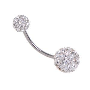 Body Piercing Schmuck Kristall Ball Button Bauchnabel Ring Bar Weiß wie beschrieben Bar / Langhantel