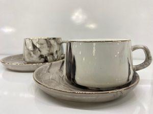 Zellerfeld 12tlg. Kaffeeservice Kaffee Service Tassen Untertassen Design Marble/Marmor Grau (TRX 115-6)