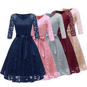 Vintage Abendkleider Frauen der 1950er Jahre Crochet Lace Plissee Kleid V-Ausschnitt 3/4 aermel Guertel Abend Party Swing Dress L