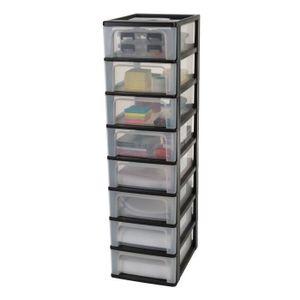 IRIS OHYAMA Lagerturm 8 Schubladen - Schwarz und transparent - 56 L - 35,5 x 26 x 96 cm