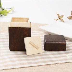 2er-Set Holz Vorratsdosen Zuckerdose Teedose Kaffeedose Dose mit Deckel für Tee Kaffee Gewürz