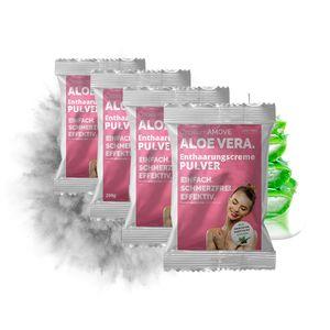 Enthaarungscreme Pulver Ganzkörper 4x300g Capillum AMOVE Aloe Vera 4er Pack schmerzfreie Dusch-Haarentfernung - Intimbereich für Mann & Frau