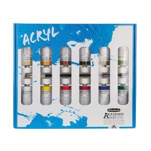 Schmincke AKADEMIE Acryl Kartonset 12 x 60 ml mit 10# da Vinci Pinsel 76 732 097