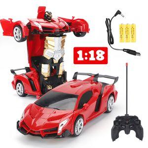 2 in1 1:18 Transformer Auto Rennauto Roboter mit Fernbedienung Kinder Spielzeug Transformers Toys  Fernbedienung