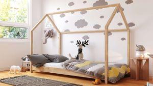 Kinderbett Haus Montessori 90x200 80x180 80x160 - Kleinkind Kabinenbett - Für Jungen und Mädchen - Natürliches Kiefernholz- Kiefer- 200x90
