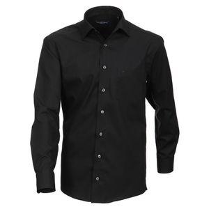 Größe 44 Casamoda Hemd Schwarz Uni 72er Extralanger Arm Comfort Fit Normal Geschnitten Kentkragen 100% Baumwolle Bügelfrei