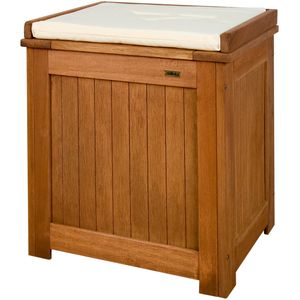 STILISTA® Gartenbank Gartenbox aus 100% Shorea-Hartholz, geölt, Liftautomatik, inkl. Kissen in Farbe natur, 43 x 55 x 62 cm, Auflagentruhe