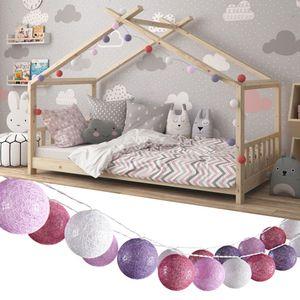 Vicco Lichterkette Baumwolle Balls Girlande weiß, pink, rosa und lila 310 cm
