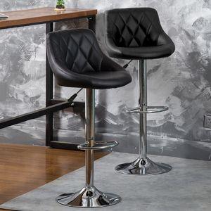 2er Set  Barhocker mit Lehne  aus Kunstleder 360° drehbar höhenverstellbar - Barstuhl, Küchenhocker Schwarz