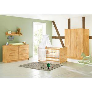 """Pinolino 3-teiliges Kinderzimmer """"Natura""""(Kinderbett, Wickelkommode, Kleiderschrank),  102174XG, extrabreit"""
