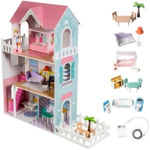 XXL Puppenhaus aus Holz 123 cm mit LED-Beleuchtung, Holzpuppenhaus mit Möbel und Zubehör Terrasse und Garten 3 Spielebenen
