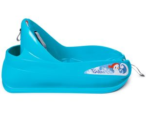 Ondis24 Schlitten Bob für Kleinkinder blau Rodel mit Sicherheitsgurt Rutscher mit Zuggurt und Staufach Kinderschlitten mit Lehne für Kinder bis 3 Jahre