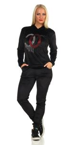 Damen Nicki Jogginganzug Freizeitanzug Nicki-Anzug Kapuzenpullover, Schwarz L/XL