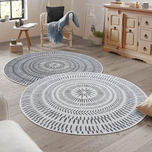 Wendeteppich AMILLO In- & Outdoorteppich marokkanische Ornamente Flachgewebe modern, Größe:140 cm rund, Farbe:grau/creme