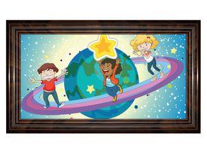 3D Wandtattoo Saturn Kinderzimmer Sterne Weltall Bild selbstklebend Wandbild sticker Wohnzimmer Wand Aufkleber 11H1123, Wandbild Größe F:ca. 162cmx97cm