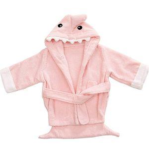 Kapuzenhandtuch Baby: Frottee Bademantel - Babyhandtuch mit Kapuze - Kapuzenbadetuch (Hai rosa)