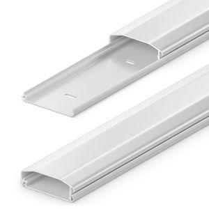 deleyCON Universal Kabelkanal Leitungskanal einfaches Verlegen von Kabeln und Leitungen hochwertiges PVC Länge 100cm Breite 6cm Höhe 2cm - Weiß