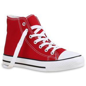 Mytrendshoe Damen High Top Sneakers Sportschuhe Stoffschuhe Freizeit Schuhe 815563, Farbe: Rot, Größe: 39
