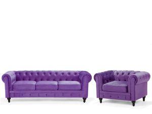 Sofa Set Violett Samtstoff Sizgruppe Chesterfield Stil Glamourös Wohnzimmer