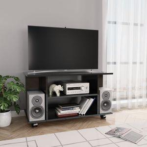 TV-Schrank mit Rollen Hochglanz-Schwarz 80×40×40 cm Spanplatte