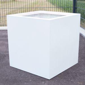 Blumenkübel Fiberglas quadratisch 30x30x30cm perlmutt weiß.