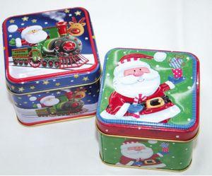 Geschenkbox Geschenkdose eckig Gebäckdose Blechdosen Santa Motiv 6 Stück