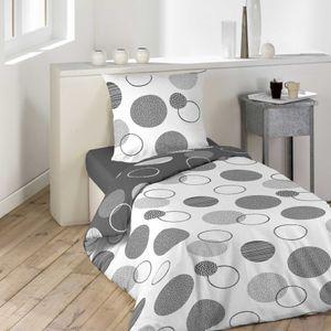 2tlg Bettwäsche 140x200 Wendebettwäsche Kissen Bettbezug Bezug Set grau weiß
