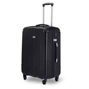 Hartschalen Reisekoffer Wagenkoffer Trolley Spinner Case mit TSA-Schloss und Griffen, Schwarz, L