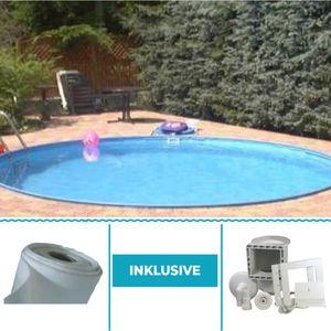Summer Fun Stahlwandbecken Set Java Exklusiv rund ø 4,50m x 1,20m Folie 0,8mm Spar Set Pool Rundpool / 450 x 120 cm Stahlwandpool Rundbecken Poolset