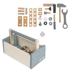 roba Werkzeugkiste mit Zubehör 22-tlg. Werkzeug Kinderwerkzeug Heimwerker Holz