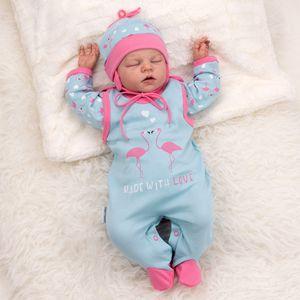 Baby Sweets Mädchen Set 3 Teile Strampler Shirt Mütze türkis rosa Made with Love Newborn (56)