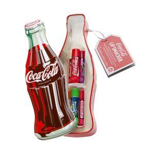 Coca Cola Dose in Vintage-Flaschenform mit 6 Lippenpflegestiften in verschiedenen Geschmacksrichtungen