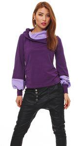 Pri Damen Langarm Shirt Longshirt Oberteil Tunika, Violett Lavendel L