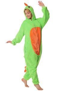 Corimori 1852 Byte der Dinosaurier Damen Herren Onesie Jumpsuit Anzug Einteiler Kostüm Verkleidung Gr. 150 - 160cm, Grün