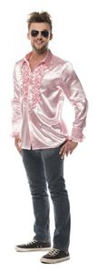 L330033N-M rosa Herren Rüschenhemd Discohemd Gr.M