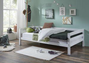 Relita Einzelbett Nora in Buche massiv, weiß lackiert, Liegefläche 90x200 cm, ohne Lattenrost; EB2691117-B90